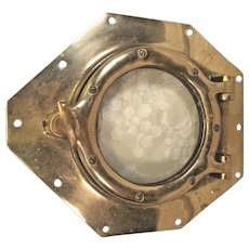 Vintage Brass and Glass Ship's Porthole Cover w/ Lock Screw Glass Blistered