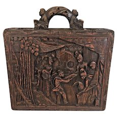 Antique Chinese Carved Wood Case Wax Stamp/ Seal Storage Ornately Carved Done w/ Wood Handle  Late 1800s   Reliefs of Hsiu Wang Mu the Queen of the Western Region