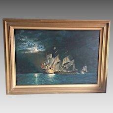 Frank Nicolette Painting Oil on Canvas   USS Bon Homme Richard and HMS Serapis 1779  Revolutionary War Naval Battle   John Paul Jones Framed
