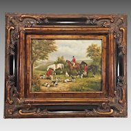 Antique Rudolf Schrader Oil on Board Painting  Before the Hunt Beautifully Detailed Frame