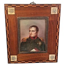 Antique Miniature Portrait of Napoleon Bonaparte in Inlaid Wood Frame Signe
