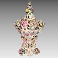 Antique Sitzendorf Porcelain Potpourri Urn w/ Topper w/ Cherubs/Puttos & Provenance