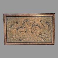 Manuel Palos Running Horses Composite Relief Plaque in Frame 1985 Very Heavy