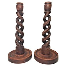 Pair of Arts & Crafts Style Wood Candlesticks