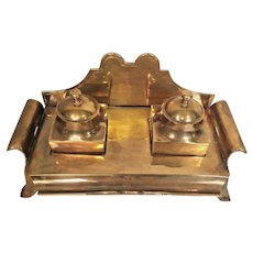 Vintage Metal Inkwell Stand Gold Colored Finish Metal Inkwell Bottles & Tops India