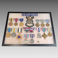 US Air Force Medals in Display Case