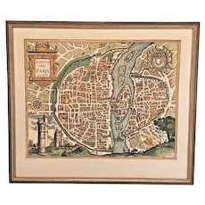 Vintage Map Print of Paris France Framed as of 1575  Lutetia Vulgo Paris Anno 1575  Late 1800s Reproduction