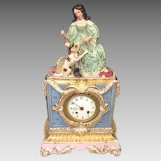 Antique Figural Porcelain Clock by Fraye of Paris France No Pendulum Great Case! Movement Intact