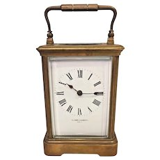 Antique French Repeater Carriage Clock Running?  Robert S Roberts Brass Case