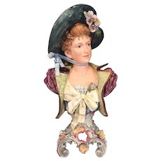 Victorian Style Faience Bust of Elegant Lady with Bonnet Foundry Mark on Inside (1 of 2)