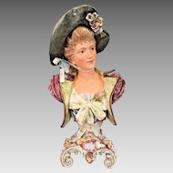 Victorian Faience Bust of Elegant Lady with Bonnet Foundry Mark on Inside (#2 of 2)