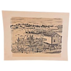 "Malvin Albright ""Boothbay Harbor"" Lithograph  Signed and Titled in Pencil by Artist"