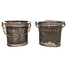 Pair of Antique Pewter English Dairy Containers