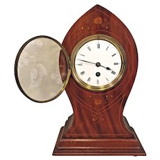 Antique French Clock Kidney or Balloon Style Time Only Inlaid Case Not Running