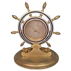 Antique Brass Ships Wheel Barometer Blue Enamel Trim P Galle 21 Union Square New York