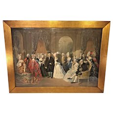 Antique Benjamin Franklin's Reception at the Court of France 1778 Chromolithograph in Frame
