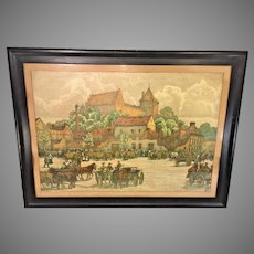 Ernst Muller Bernburg 1916 Lithograph of a German Town Square in Frame