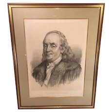 Antique Benjamin Franklin Lithograph by Charles G. Crehen after Fredericks Published by W Schaus Philadelphia 1855