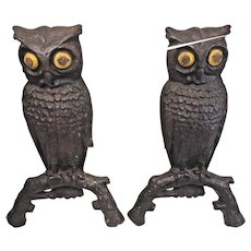 Pair of Cast Iron Owl Andirons with Yellow Painted Eyes