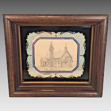 Edward Priestley Pencil Drawing of Christ Church in Riverton, NJ Circa 1890 in Frame Reverse Glass Matting