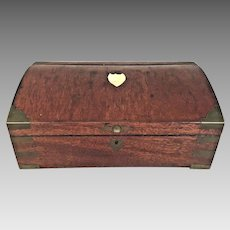 Antique Campaign Style Jewelry Box Mahogany w/ Brass Corner Fittings Fitted Mirror w/ Nickel Plated Insets Partially Replaced Escutcheon on Top  Secret Compartments
