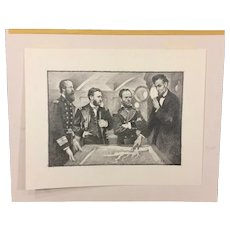 Gore Vidal's Lincoln Book Original Artwork Illustration War Strategy Meeting Near End of Civil War  by Thomas B Allen for Franklin Mint Book Issued in 198