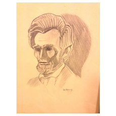 Pencil Drawing of Abraham Lincoln (Death Portrait) done by W. Fleming in Jacket from Grace Salon of Art NY Early 1900s