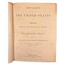 Antique Book - Census of the Population of the United States in 1860 by Joseph Kennedy 1864 Washington, DC 8th US Census