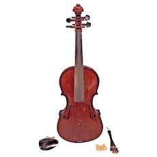 Antique Violin Oak Back Redwood Belly No Maker Label Violin is Quite Heavy Information Etched Inside Violin Body  Dark Red Brown Stain w/ Vtg Case 1 Piece Belly 1 Piece Back