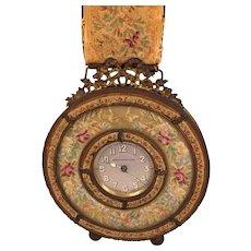 Antique Victorian Wall Clock on Tapestry and Brass Hanger Breveto Switzerland Runs