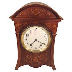Seth Thomas Mantel Clock Beautifully Inlaid Case Porcelain Face Runs and Strikes