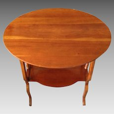 Cherry End Table with Bottom Shelf Detailed Sides and Scalloped Legs