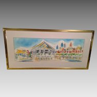 Eli's on Pier 34 on Delaware River in Philadelphia PA Watercolor 1992 Joe Barker Framed & Matted