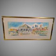 Eli's on Pier 34 on Delaware River in Philadelphia PA Watercolor 1992 Joe Barker Framed & Matted