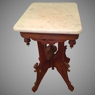 Marble Top Square Stand with Oak Base Nice Detailing with Finials