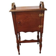 Vintage Mahogany Smoker or Sewing Stand with  Door and Brass Hinges with Wood Handles Some Paint Splatter