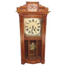 Antique German Hamburg American Clock Co (Cross Arrows) Wall Clock Great Oak Case Runs and Strikes