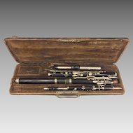 Antique J Gotzl Wien Wooden Flute / Piccolo Combination in Case Austria