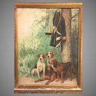 Antique Watercolor Painting of 4 Hunting Dogs w/ Horn & Military Jacket Hanging in Tree Beautiful Gold Gilt Wood Frame