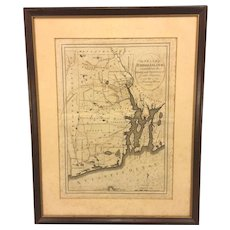Antique 1796 Engraved Map of Rhode Island Carey's General Atlas Map #29  Framed