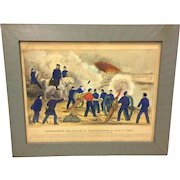 Antique Currier & Ives Print The Bombardment and Capture of Fredericksburg VA Dec 1862 Hand Colored in Frame Under Glass