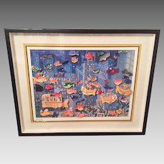 Vintage Stewart Moskowitz 3D Fish City Abstract Multi Media Print Framed & Matted