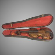 Antique Violin Bird Hazen 1934 with Wood Case 2 Piece Belly & Back, Port Allegany PA Probably American Made