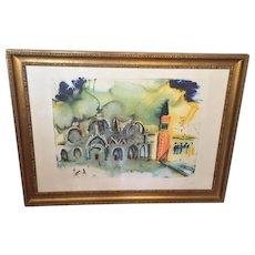 Salvador Dali Ltd Edition Print Venise - La Basilique et le Campanille Pencil Signed & Numbered Framed & Matted #300 of 395