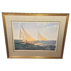 Vintage Montague Dawson Print The Greatest Race Rainbow & Endeavour Competing for Americas Cup Framed & Matted