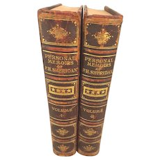 Memoirs of P H Sheridan 2 Vol Set by Philip H Sheridan 1st Edition 1888 Antique Book Union General Civil War Memoirs