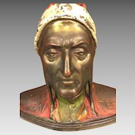 Vintage Cast Bronze Bust of Dante Alighieri