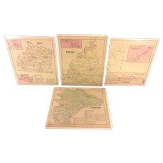 4 Antique Maps of York County PA 1876 by Beach Nichols Publ Pomeroy Whitman & Co Set # 2
