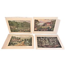 4 Reproduction Currier & Ives Prints 1950s to 1960 Reprints of 1860s to 1870s Originals