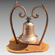 """Vintage French Passenger/Cargo Ship  """"Poitou"""" Bronze Bell w/ Clapper Salvaged from a Shipwr"""